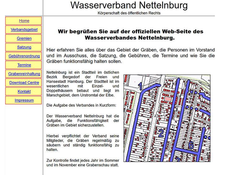 Erste Internetpräsenz vom Wasserverband Nettelnburg
