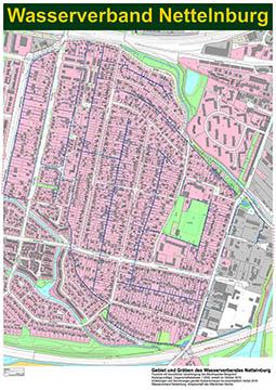 Katasterkarte von des Gebietes des Wasserverband Nettelnburg